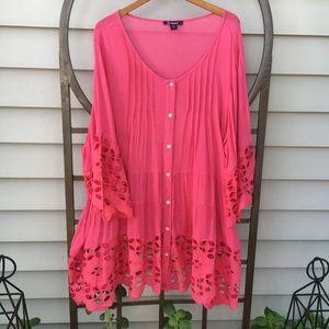 New Roaman's tunic blouse 24W, Melon